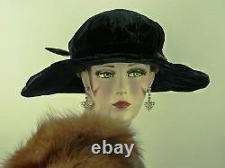 VINTAGE HAT WW1 1910s FRENCH, BICORN CLOCHE HAT, DEEP BLUE VELVET & JET BEAD