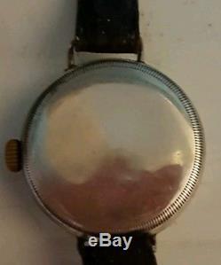Vintage Gents WW1 Era Brevet Trench Watch Demi Hunter Silver Case Just Serviced