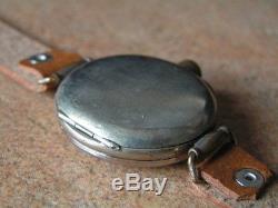 Vintage OMEGA Officer Trench Wrist Watch Black Porcelain Dial Orig. Cond. WW1