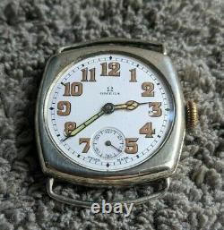 Vintage Omega Silver WWI military cushion trench watch 1918 WW1 Triple signed