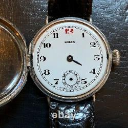 Vintage Rolex WW1 Mens Military Officers Trench Watch Sterling Circa 1915