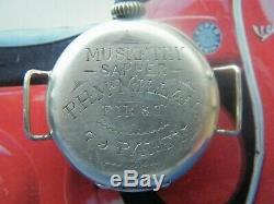 Vintage Ww1 British Military Sapper Tunnel Diggers Trench Watch Mint Enamel Dial
