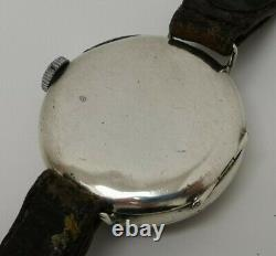 Vtg 1918 WW1 George Stockwell 32mm Solid Sterling Silver Officers Trench Watch