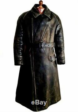 Vtg Mens 1910 WW1 ROYAL FLYING CORPS Leather Dispatch Pilot Jacket Trench Coat