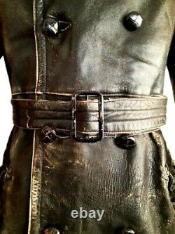 Vtg Mens 1915 WW1 AFC FLYING CORPS RFC Leather Dispatch Pilot Jacket Trench Coat