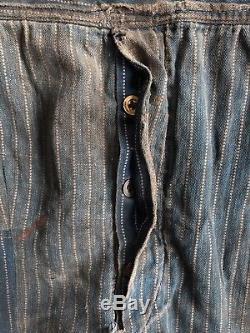 Vtg Wabash Stripe Stifel Overalls Rip Proof Brand 1910s WWI Indigo Lee Big E