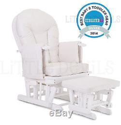 WHITE WOOD WHITE SUPREMO BAMBINO Nursing Glider Rocking Maternity Chair Stool