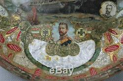 WK1 WW1 Antiker Patriotischer Teller Kaiser Zigarrenbildchen 22,5cm SELTEN 2150
