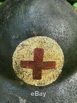 WW1 BRITISH 1st PATTN STEEL HELMET+ LINER & COVER, RAMC MEDIC RARE ORIGINAL LOT