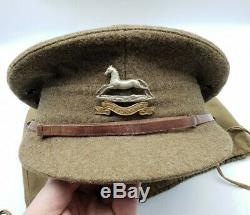 WW1 British Army West Yorkshire Regiment Officers Trench Cap + Bag & Bible