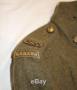 WW1 Canadian 7 Button RCASC Tunic Rare