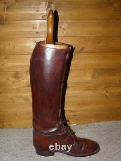 WW1 Craig & Davies Military Brown Leather Field Boots UK 9 Wide With Wooden Trees