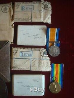 WW1 DEATH PLAQUE BWM VICTORY MEDAL BOXED ENVELOPES 4th MIDDLESEX REGT DoW 1917