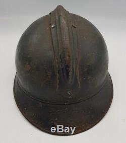 WW1 French Army Infantry M15 Adrian Helmet + Liner & Chinstrap Nice Example LOOK