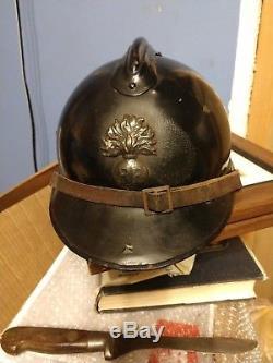 WW1 French Infantry Army M15 Adrian Helmet Complete BLACK