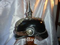 WW1 GERMAN OFFICER'S SPIKE HELMET PRUSSIAN PICKELHAUBE, PIONEER Nr 6 With HAT BOX