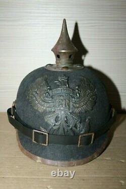 WW1 German Felt Ersatz Pickelhaube Helmet WATERLOO