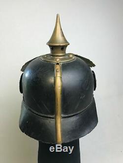 WW1 German Helmet Prussian Guard Spiked Leather Picklehaube Old Original