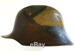 WW1 German M. 18 Steel Helmet (Mod. 1918 Stahlhelm) Camouflaged Shell