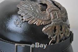 WW1 German Pickelhaube Spike Helmet, WWI Original Brass Parts & Leather Replica