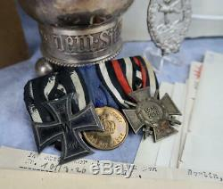 WW1 German pin cross badge medal bar WWII NAMED Honor Goblet grouping to a pilot