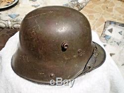 WW1 German steel helmet M17 original liner, paint and chinstrap, Si62