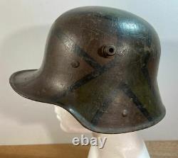 WW1 Imperial German M-16 Camouflaged Steel Combat Helmet