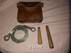 WW1 MILITARY Bush Saw and Leather Case. (B. CROOK & Sons 1915)