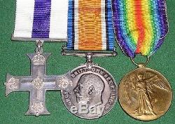WW1 MILITARY CROSS MC & PAIR, MAJOR CADDY 37th BTN MACHINE GUN CORPS FROM DEAL
