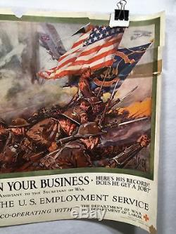 WW1 Put Fighting Blood in Your Business Propaganda Poster (19 X 28) 1918