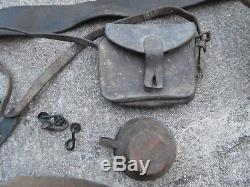 WW1 RELIC Lot French Helmet Canteen Cup Ammo Pouch Bugle