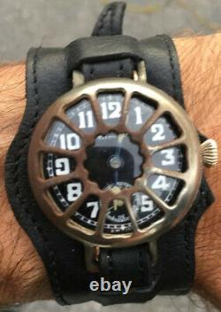 WW1 Trench Watch withShrapnel GuardGold Plated33mm1917Black DialRunningRare
