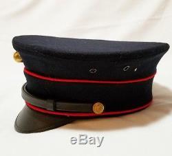 WW1 USMC Marine Corps Officers Dress Blue Parade Dress Bell Crown Visor Hat Cap