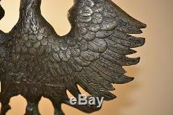 WW1 WWI German Bronze Desk Eagle Imperial Prussian Flag Pole Top