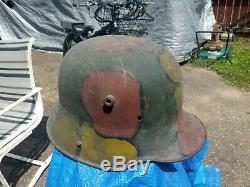 WW1 Worn/Faded Camo M16 Imperial German stahlhelm Helmet Size 0 66