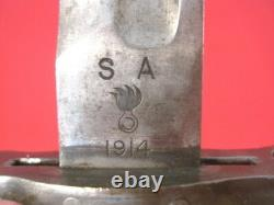 WWI AEF US ARMY M1905 Bayonet Marked SA 1914 withM1905 Modified Leather Scabbard