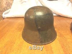WWI German Camo Helmet With Original Chinstrap