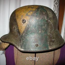 WWI German Combat Helmet With Partial Liner M16 WW1 Original Camouflage