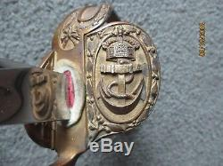 WWI German IMPERIAL NAVAL SWORD & SCABBARD LIONS HEAD GREEN & RED JEWELED EYES