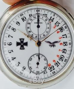 WWI German Luftwaffe Pilot's OMEGA CHRONOGRAPH 24h day/night military dial watch