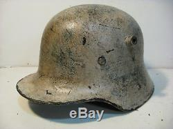 WWI German M17 Painted and Aged Winter Camo Helmet with aged liner
