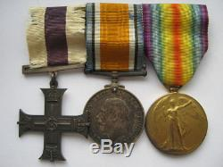 WWI Military Cross War and Victory medal trio M. C