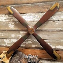 WWI Replica Four 4 Blade Wood Wooden 46 Airplane Aircraft Propeller Brass Edges