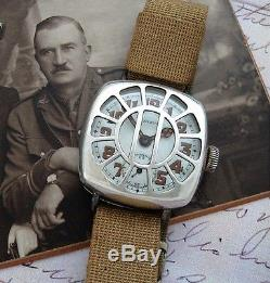 WWI Sterling Patria Trench Watch with Shrapnel Guard Original Box, Tag SERVICED