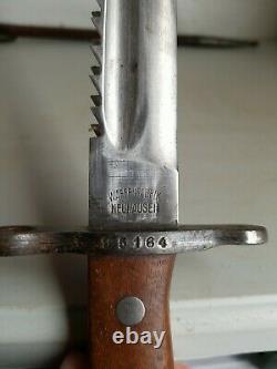 WWI Swiss M1914 Schmidt-Rubin Pioneer-Engineer Sawback Bayonet+Leather Scabbard