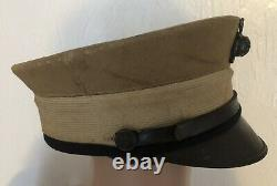 WWI USMC Officer Cover Bell Crown Hat Cap Dress Khaki Marine Corps Ellis EGA