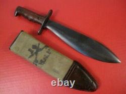 WWI US Army M1910 Bolo Knife withThumb Latch & Canvas Scabbard SA 1917 RARE