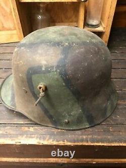 WWI WW1 German M-16 M-17 Steel Helmet Stahlhelm Beautiful Camouflage Pattern