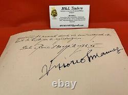 WWI/WW2 WWII Italian Fascist Mussolini Signature King Of Italy Signature RARE