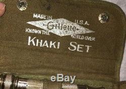 WWI WWII Gillette 2 Army Khaki Shaving Kit Set Lot 1 W Case 1 Pouch Safety Razor